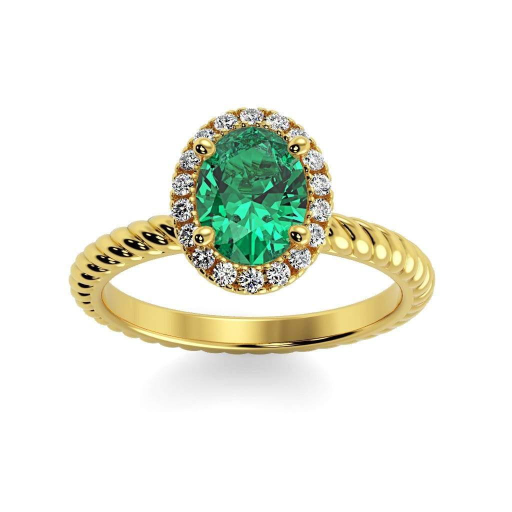Ring 10K Yellow Gold / 7x5 mm Oval Diana Oval Chatham Emerald Halo Diamond Ring Diana  | Chatham Emerald | Halo Diamond Ring  | Storyandhearts.com