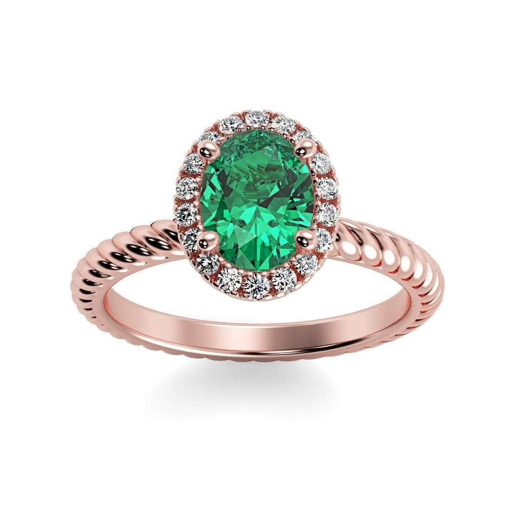 Ring 14K Rose Gold / 7x5 mm Oval Diana Oval Chatham Emerald Halo Diamond Ring Diana  | Chatham Emerald | Halo Diamond Ring  | Storyandhearts.com