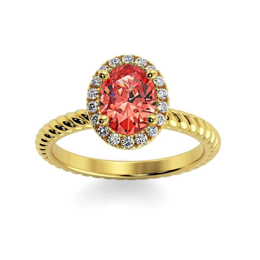 Ring 10K Yellow Gold / 7x5 mm Oval Diana Oval Chatham Padparadscha Sapphire Halo Diamond Ring Diana  | Chatham Padparadscha Sapphire | Halo Diamond Ring  | Storyandhearts.com