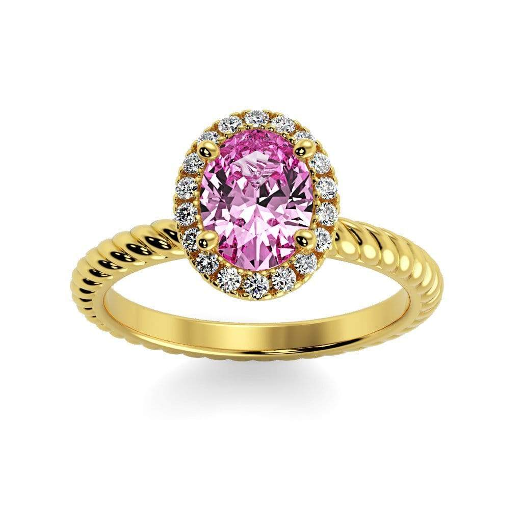 Ring 10K Yellow Gold / 7x5 mm Oval Diana Oval Chatham Pink Sapphire Halo Diamond Ring Diana  | Chatham Pink Sapphire | Halo Diamond Ring  | Storyandhearts.com