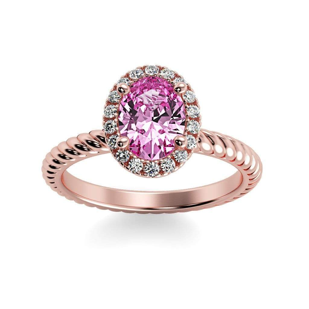 Ring 14K Rose Gold / 7x5 mm Oval Diana Oval Chatham Pink Sapphire Halo Diamond Ring Diana  | Chatham Pink Sapphire | Halo Diamond Ring  | Storyandhearts.com