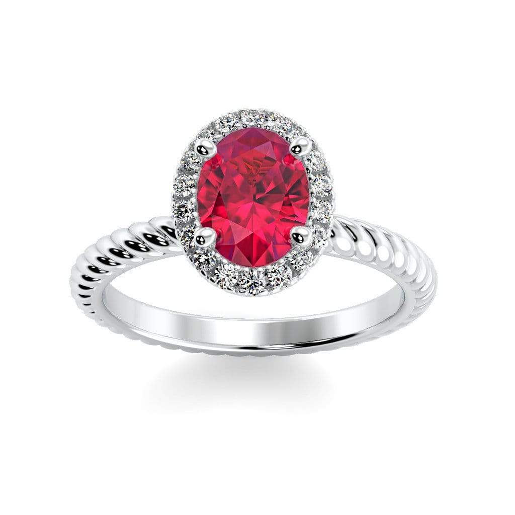 Ring 10K White Gold / 7x5 mm Oval Diana Oval Chatham Ruby Halo Diamond Ring Diana  | Chatham Ruby | Halo Diamond Ring  | Storyandhearts.com