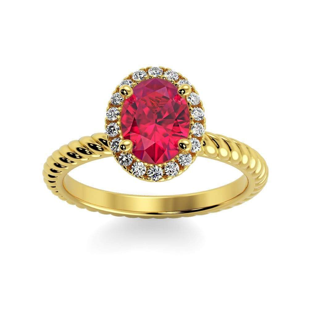 Ring 10K Yellow Gold / 7x5 mm Oval Diana Oval Chatham Ruby Halo Diamond Ring Diana  | Chatham Ruby | Halo Diamond Ring  | Storyandhearts.com