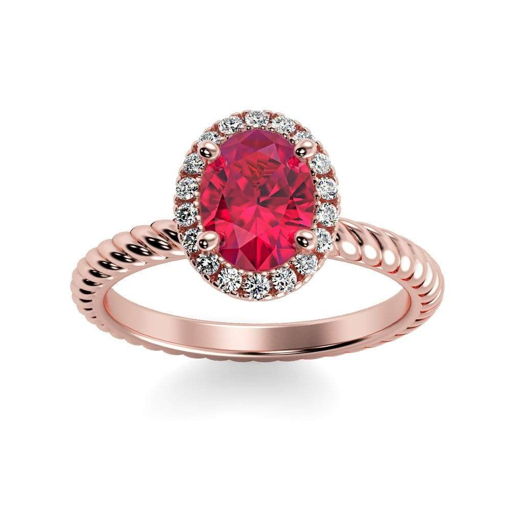 Ring 14K Rose Gold / 7x5 mm Oval Diana Oval Chatham Ruby Halo Diamond Ring Diana  | Chatham Ruby | Halo Diamond Ring  | Storyandhearts.com