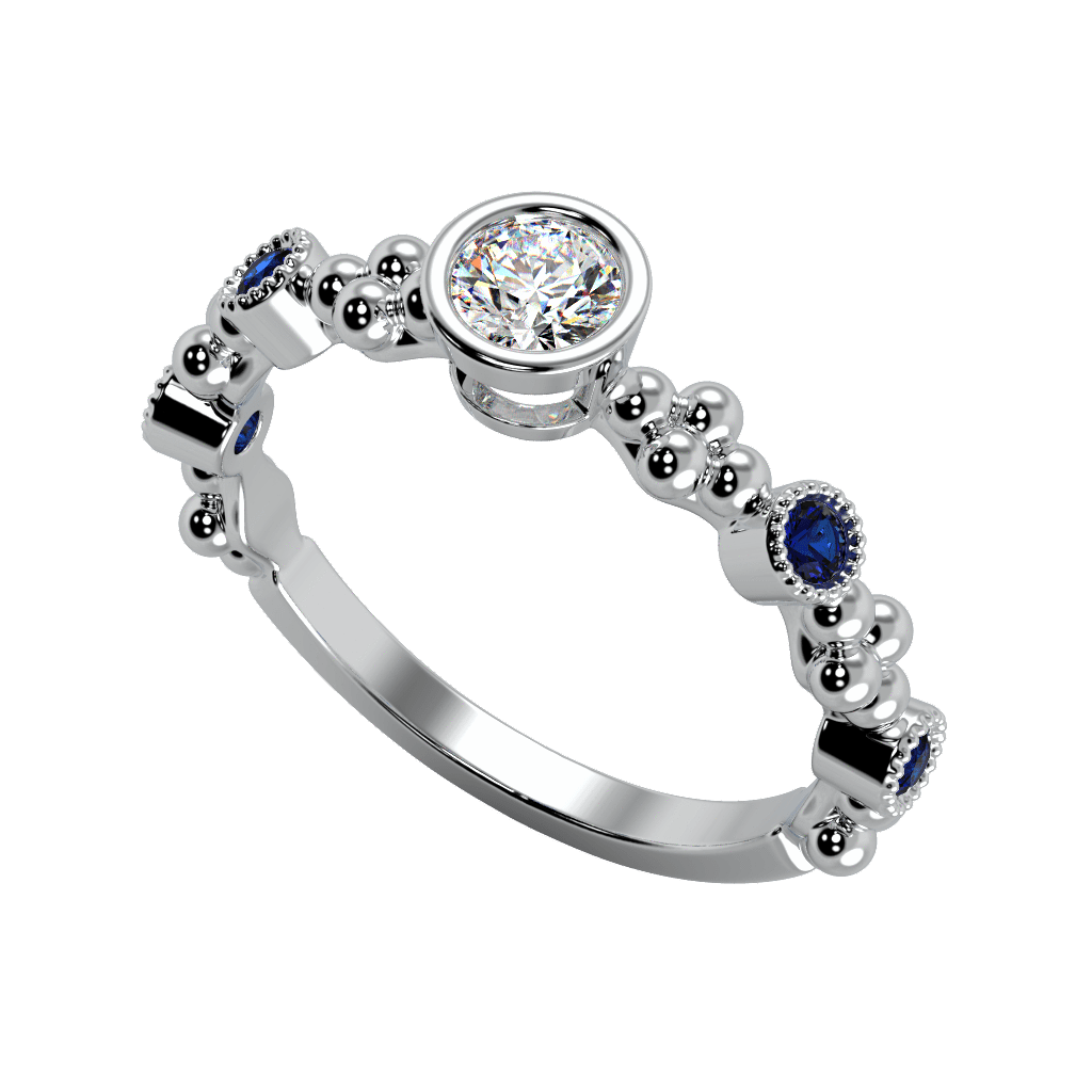 Ring Emma 14K Gold Story & Hearts Stackable Blue Sapphire and Diamond Band