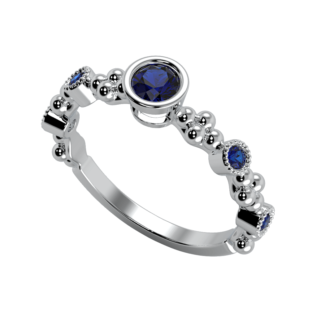 Ring Emma 14K Gold Story & Hearts Stackable Blue Sapphire Band