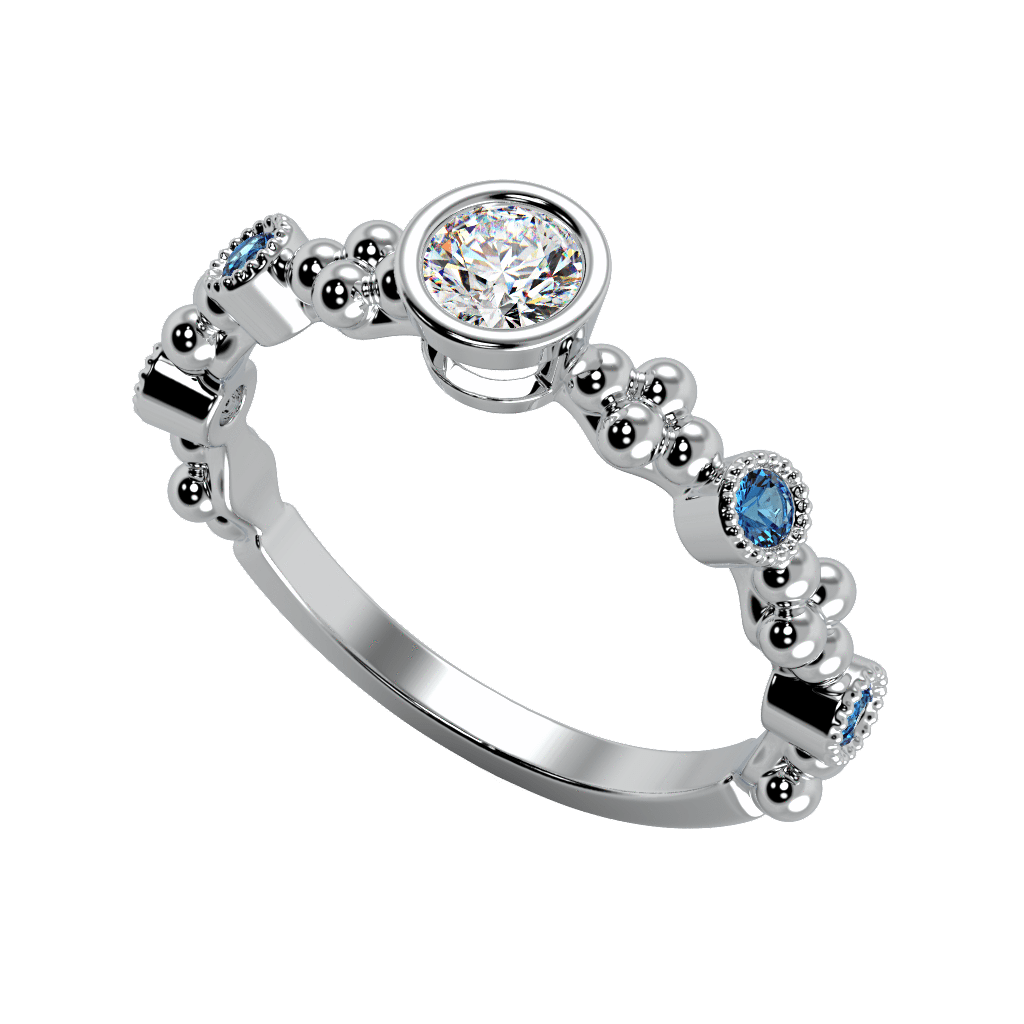 Ring Emma 14K Gold Story & Hearts Stackable Blue Topaz and Diamond Band