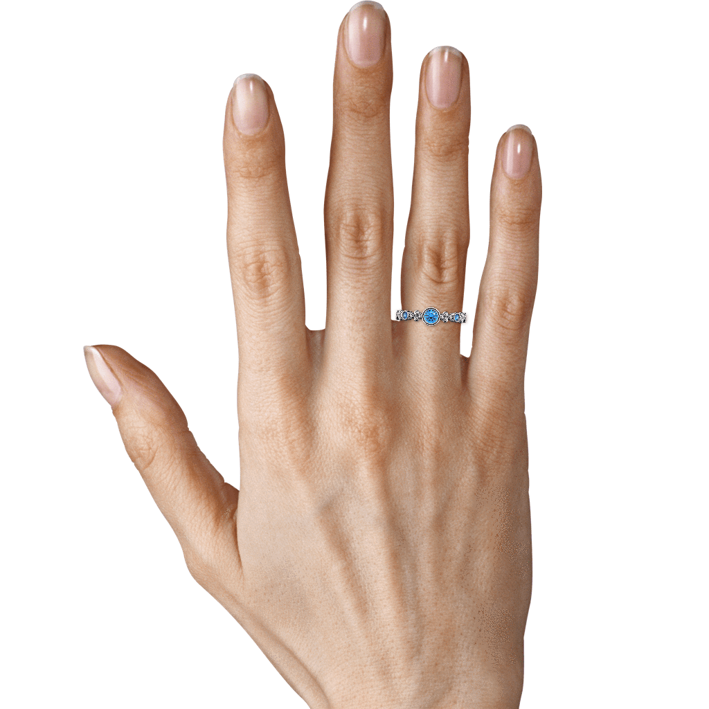 Ring Emma 14K Gold Story & Hearts Stackable Blue Topaz Band
