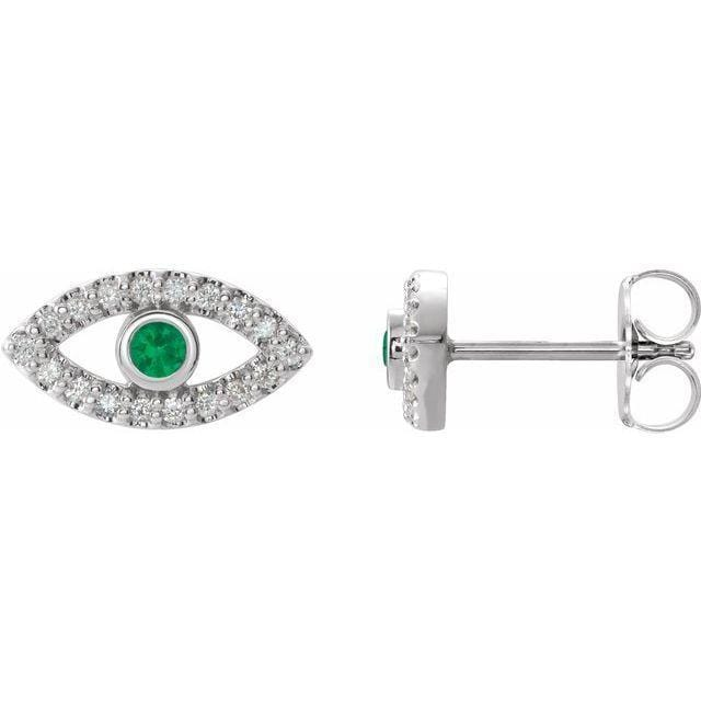 Necklace Sterling Silver / Emerald Evil Eye Gemstone & White Sapphire Halo Earrings