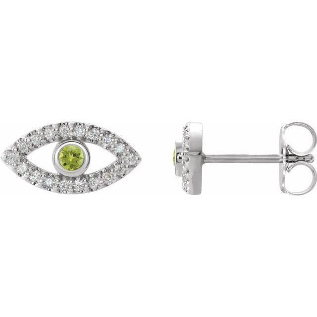 Necklace Sterling Silver / Peridot Evil Eye Gemstone & White Sapphire Halo Earrings