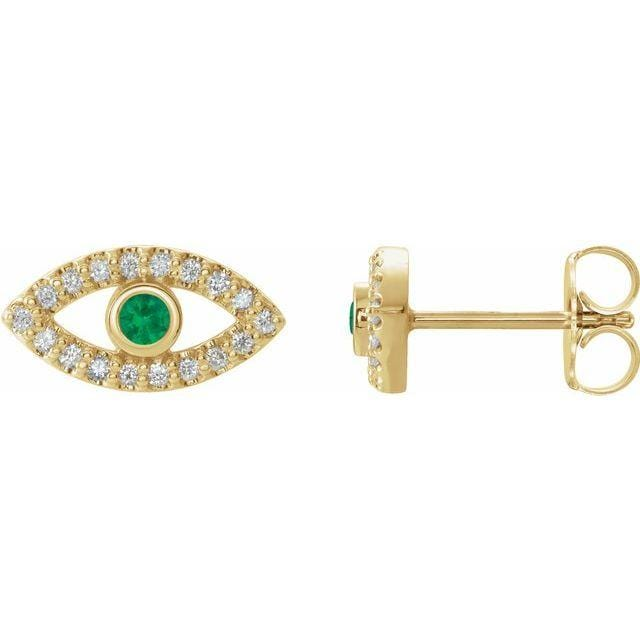Necklace 14K Yellow / Emerald Evil Eye Gemstone & White Sapphire Halo Earrings
