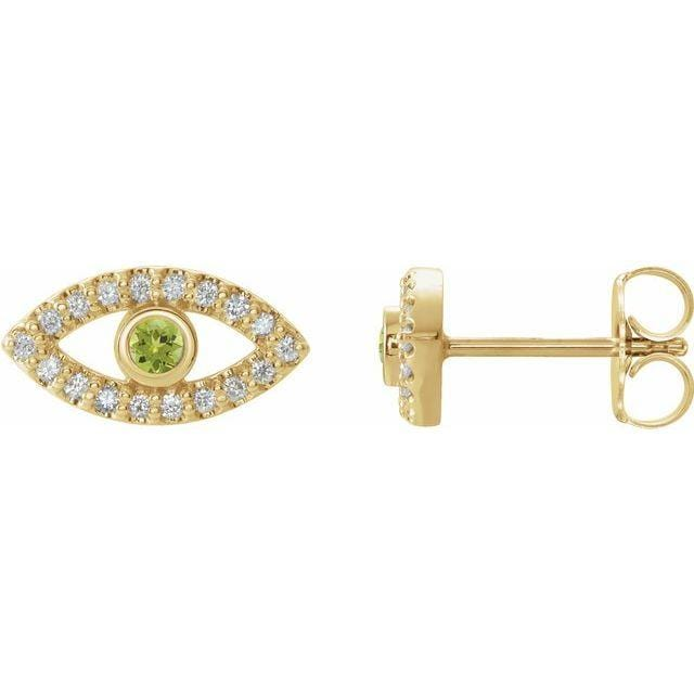 Necklace 14K Yellow / Peridot Evil Eye Gemstone & White Sapphire Halo Earrings