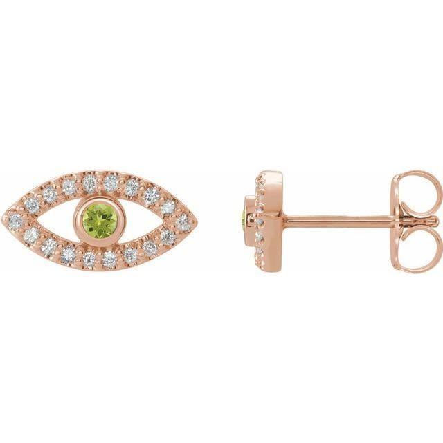 Earrings 14K Rose / Peridot Evil Eye Gemstone & White Sapphire Halo Earrings