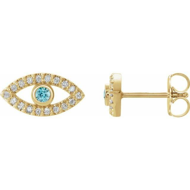 Earrings 14K Yellow / Blue Zircon Evil Eye Gemstone & White Sapphire Halo Earrings