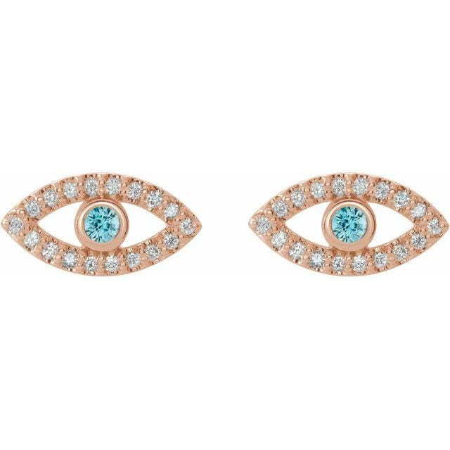 Necklace 14K Rose / Blue Zircon Evil Eye Gemstone & White Sapphire Halo Earrings