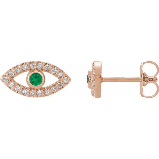 Earrings 14K Rose / Emerald Evil Eye Gemstone & White Sapphire Halo Earrings