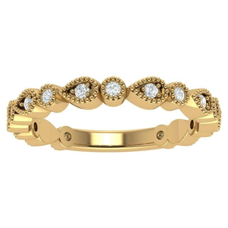 Ring Florence 14K Gold Story & Hearts Stackable Diamond Band