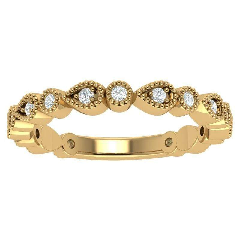 Ring 3.5 / 14K Yellow Gold Florence 14K Gold Story & Hearts Stackable Diamond Band