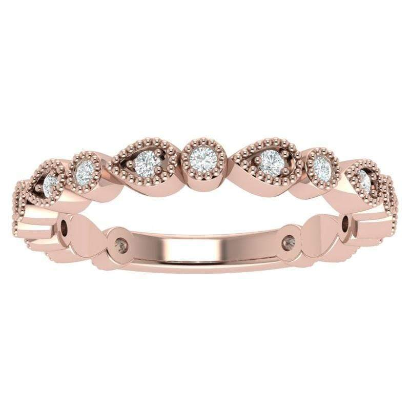 Ring 3.5 / 14K Rose Gold Florence 14K Gold Story & Hearts Stackable Diamond Band