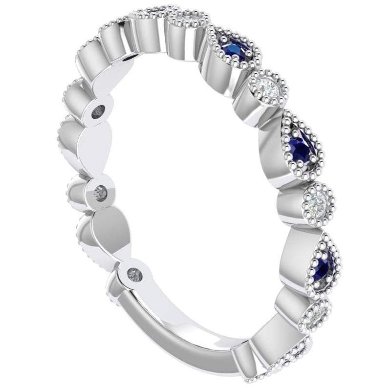 Ring Florence 14K Gold Story & Hearts Stackable Sapphire & Diamond Band