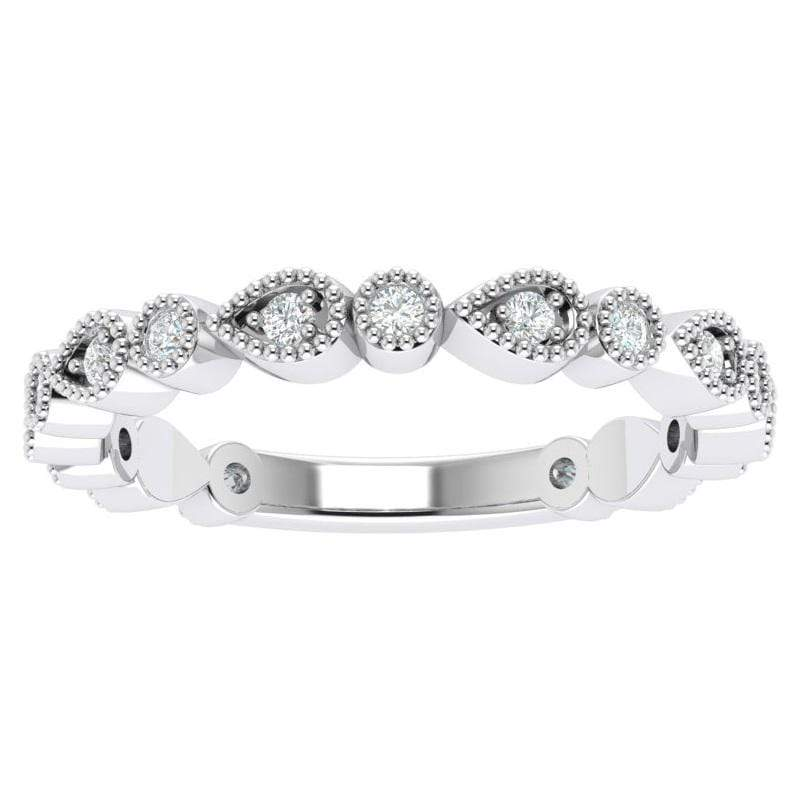 Ring 3.5 / Platinum Florence Platinum Story & Hearts Stackable Diamond Band