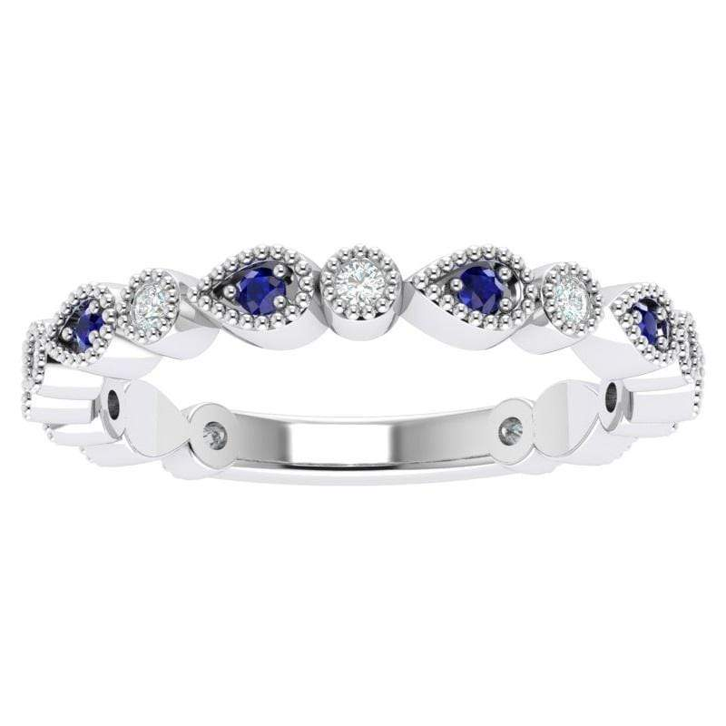 Ring Florence Platinum Story & Hearts Stackable Sapphire & Diamond Band