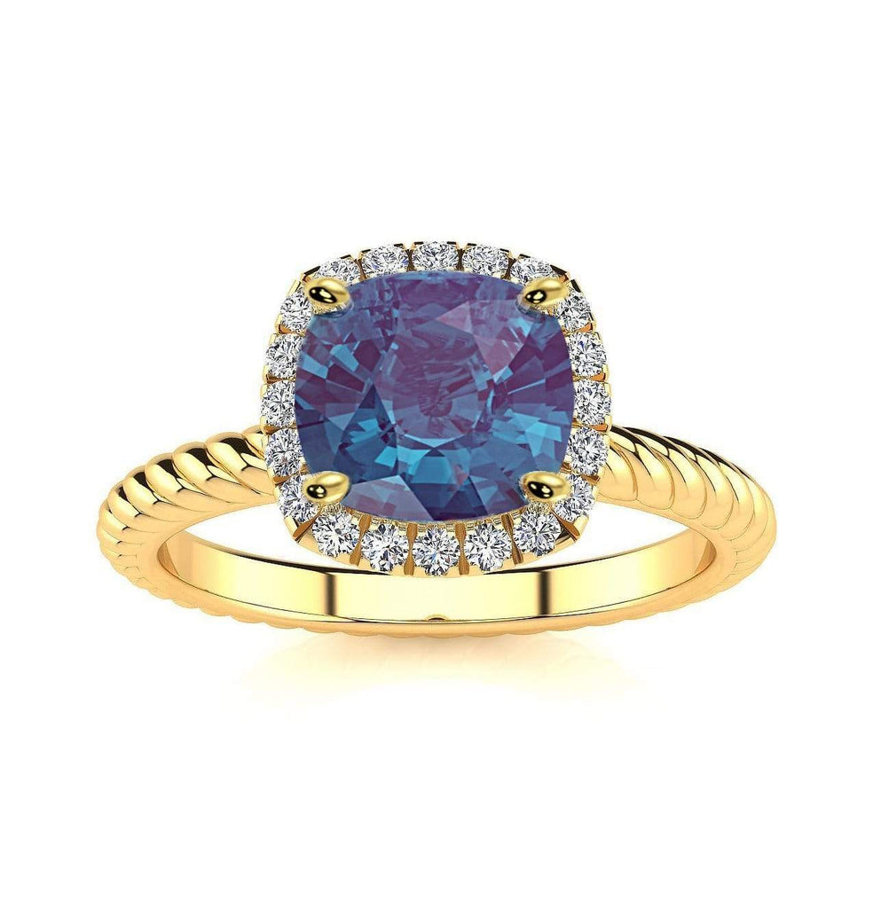 Ring 10K Yellow Gold / 6mm Cushion Gabriella Antique Cushion Chatham Alexandrite Halo Diamond Ring Gabriella Antique Cushion   | Chatham Alexandrite | Halo Diamond Ring  | Storyandhearts.com