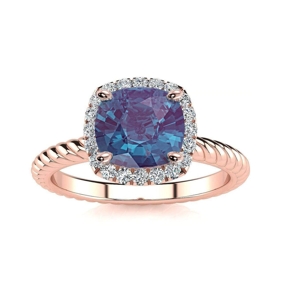 Ring 14K Rose Gold / 6mm Cushion Gabriella Antique Cushion Chatham Alexandrite Halo Diamond Ring Gabriella Antique Cushion   | Chatham Alexandrite | Halo Diamond Ring  | Storyandhearts.com