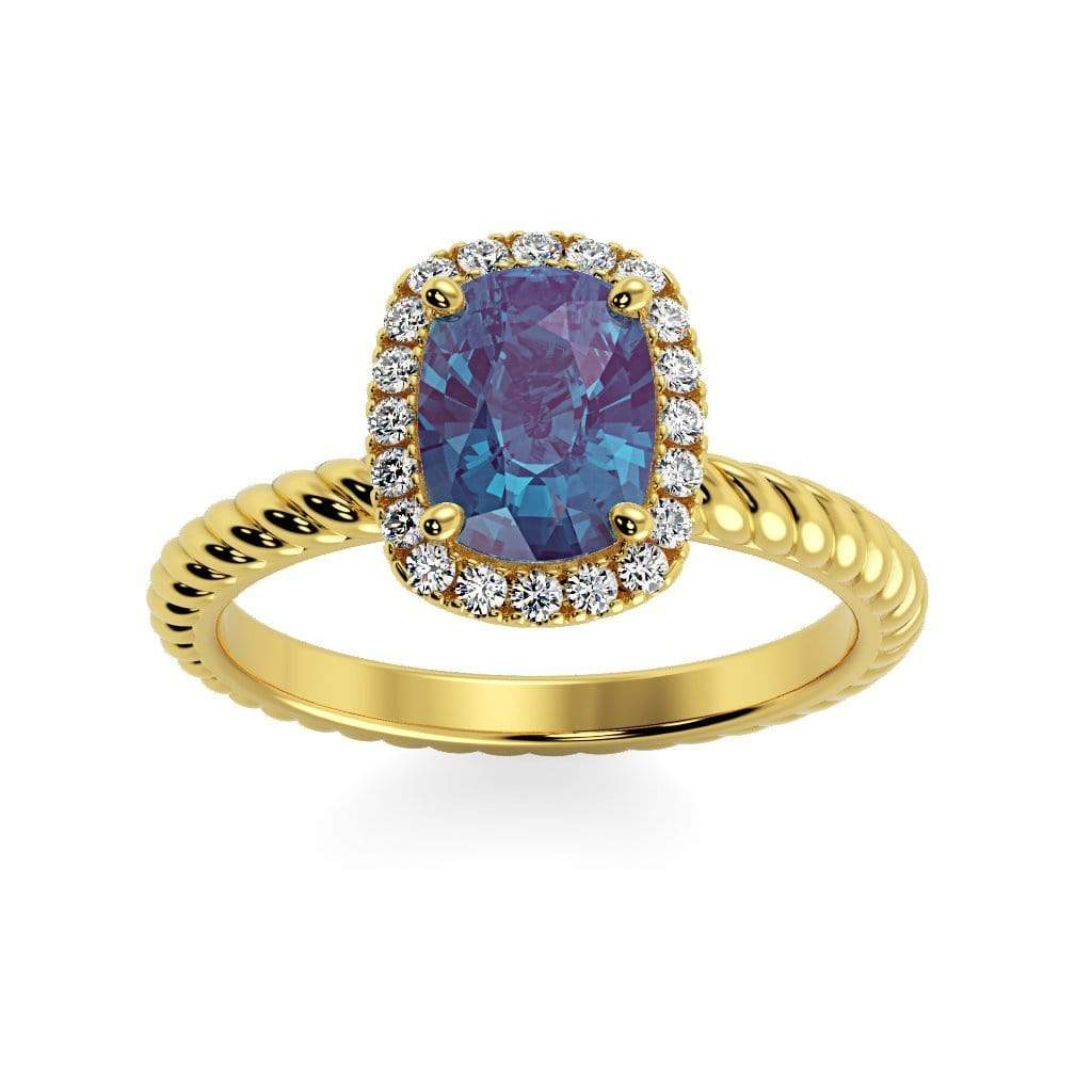 Ring 14K Yellow Gold / 8 x 6  Cushion Gabriella Antique Cushion Chatham Alexandrite Halo Diamond Ring Gabriella Antique Cushion   | Chatham Alexandrite | Halo Diamond Ring  | Storyandhearts.com