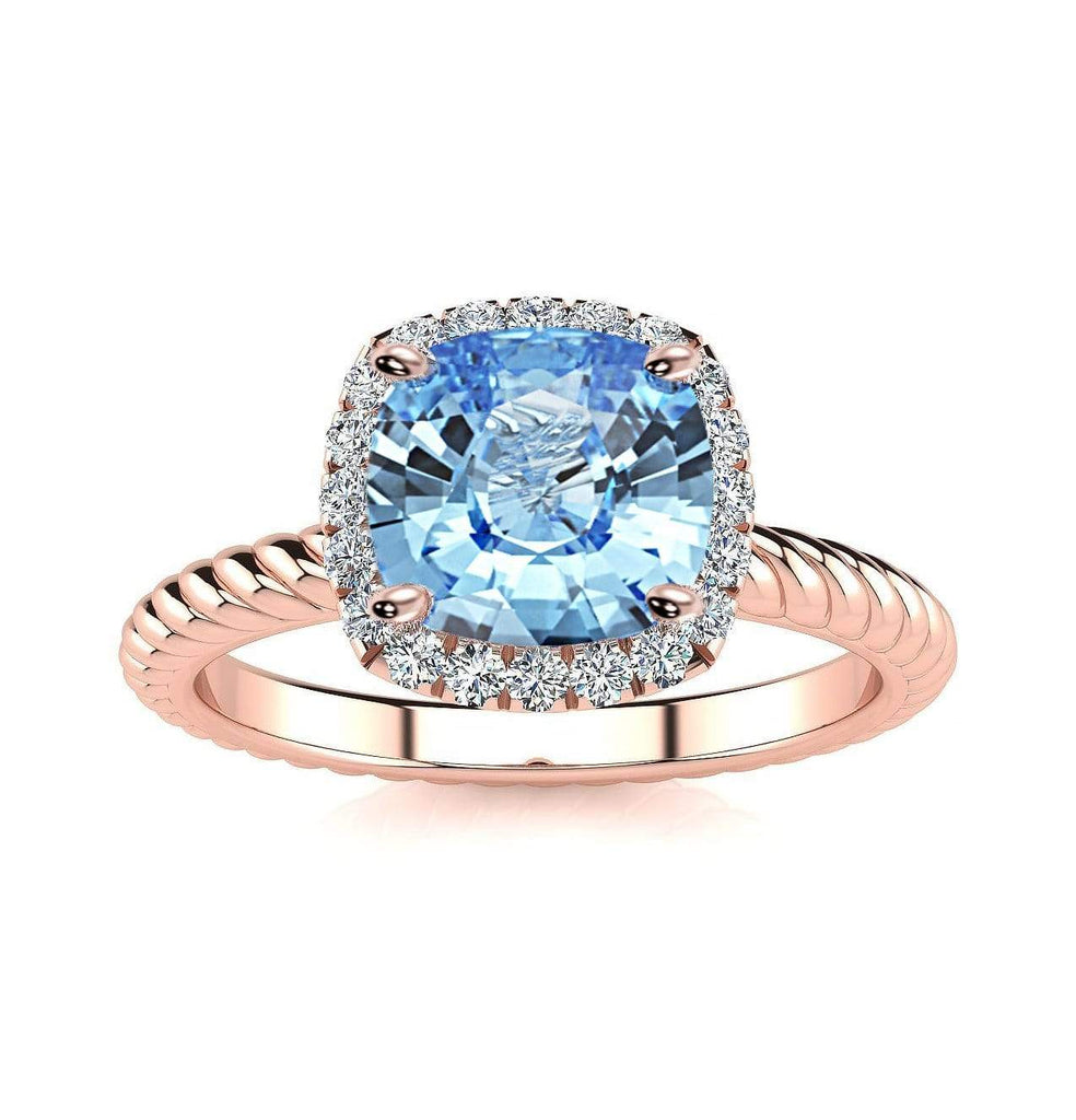 Ring 14K Rose Gold / 6mm Cushion Gabriella Antique Cushion Chatham Aqua Blue Spinel Halo Diamond Ring Gabriella Antique Cushion  | Chatham Aqua Blue Spinel | Halo Diamond Ring  | Storyandhearts.com