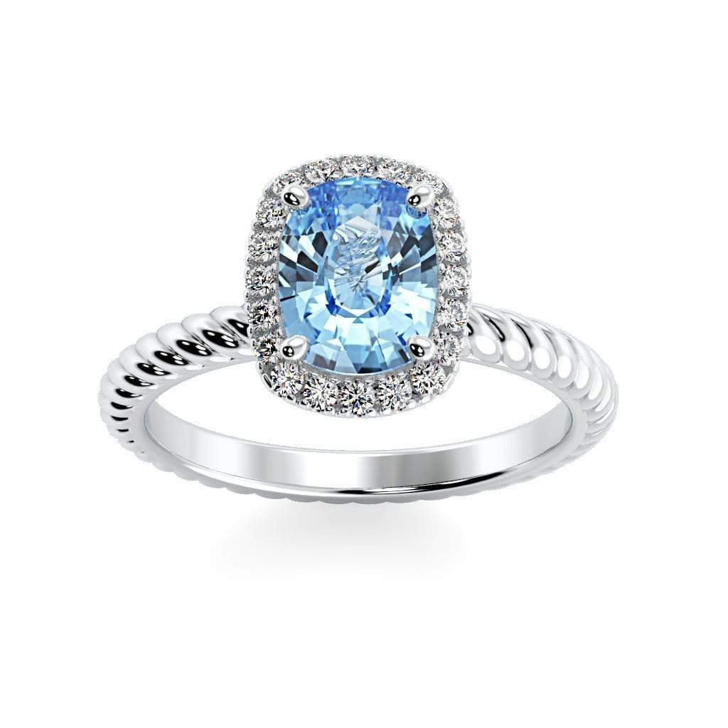 Ring 10K White Gold / 8 x 6  Cushion Gabriella Antique Cushion Chatham Aqua Blue Spinel Halo Diamond Ring Gabriella Antique Cushion  | Chatham Aqua Blue Spinel | Halo Diamond Ring  | Storyandhearts.com