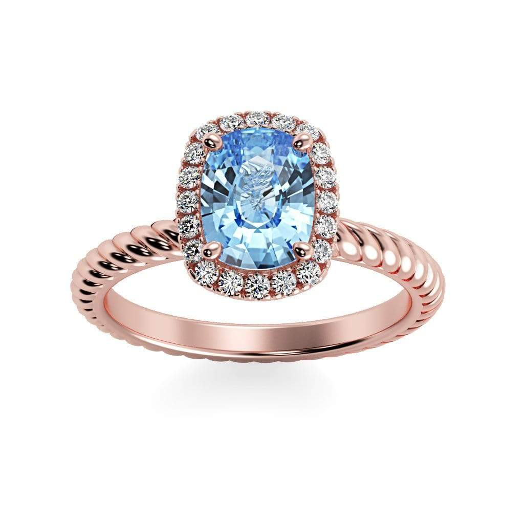 Ring 14K Rose Gold / 8 x 6  Cushion Gabriella Antique Cushion Chatham Aqua Blue Spinel Halo Diamond Ring Gabriella Antique Cushion  | Chatham Aqua Blue Spinel | Halo Diamond Ring  | Storyandhearts.com