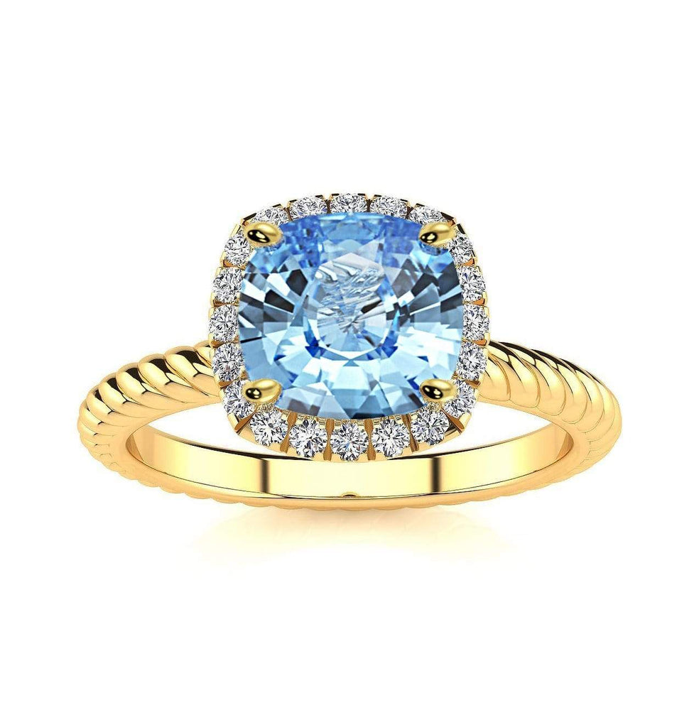 Ring 10K Yellow Gold / 6mm Cushion Gabriella Antique Cushion Chatham Aqua Blue Spinel Halo Diamond Ring Gabriella Antique Cushion  | Chatham Aqua Blue Spinel | Halo Diamond Ring  | Storyandhearts.com