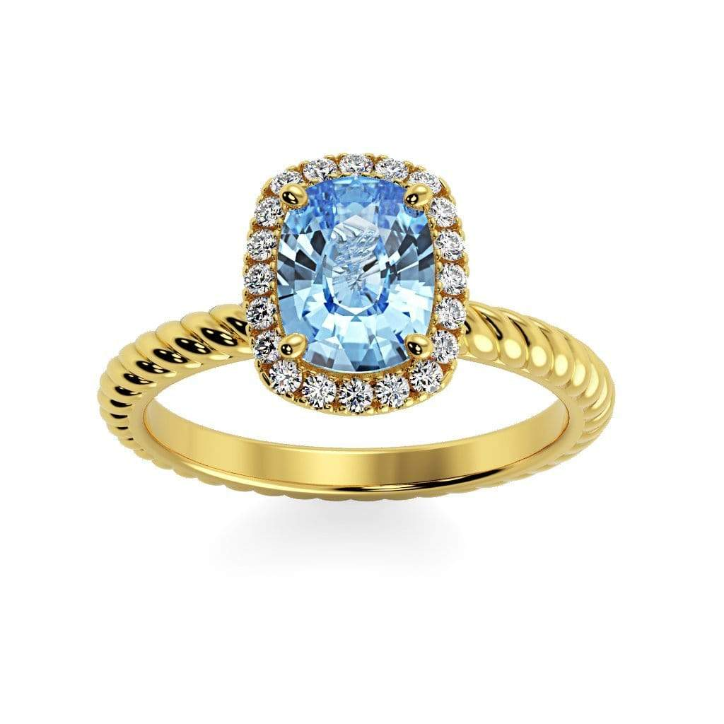 Ring 14K Yellow Gold / 8 x 6  Cushion Gabriella Antique Cushion Chatham Aqua Blue Spinel Halo Diamond Ring Gabriella Antique Cushion  | Chatham Aqua Blue Spinel | Halo Diamond Ring  | Storyandhearts.com