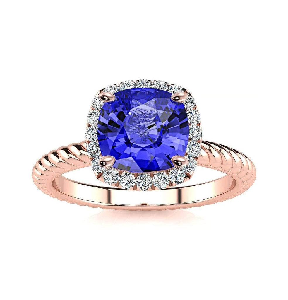 Ring 14K Rose Gold / 6mm Cushion Gabriella Antique Cushion Chatham Blue Sapphire Halo Diamond Ring Gabriella Antique Cushion  | Blue Sapphire | Halo Diamond Ring  | Storyandhearts.com