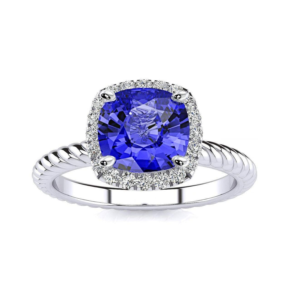 Ring 10K White Gold / 6mm Cushion Gabriella Antique Cushion Chatham Blue Sapphire Halo Diamond Ring Gabriella Antique Cushion  | Blue Sapphire | Halo Diamond Ring  | Storyandhearts.com