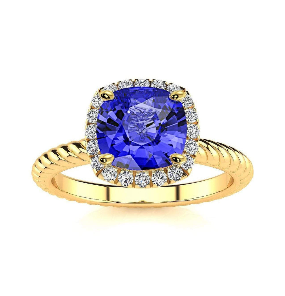 Ring 10K Yellow Gold / 6mm Cushion Gabriella Antique Cushion Chatham Blue Sapphire Halo Diamond Ring Gabriella Antique Cushion  | Blue Sapphire | Halo Diamond Ring  | Storyandhearts.com