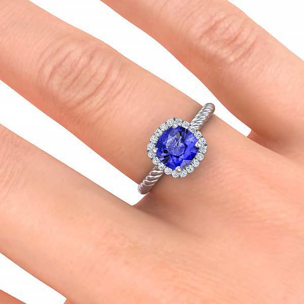 Ring Gabriella Antique Cushion Chatham Blue Sapphire Halo Diamond Ring Gabriella Antique Cushion  | Blue Sapphire | Halo Diamond Ring  | Storyandhearts.com