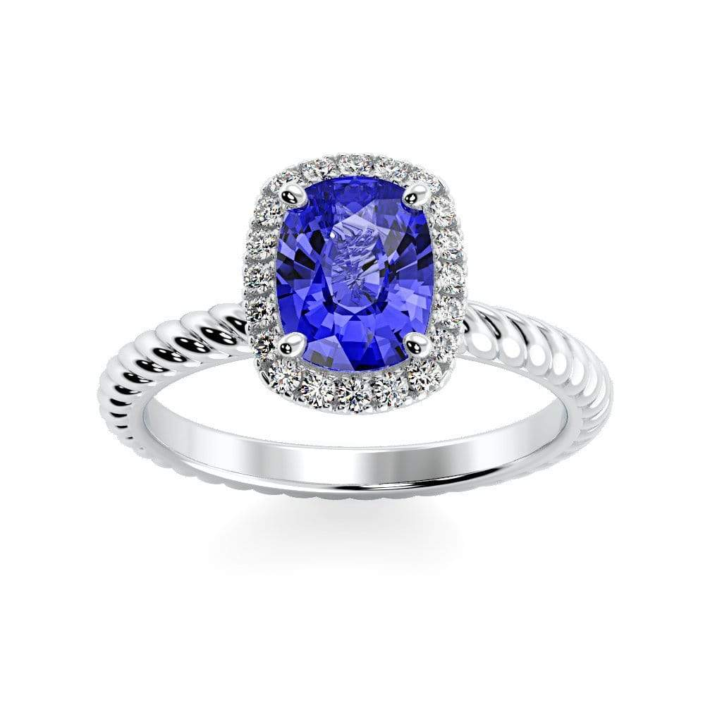 Ring 10K White Gold / 8 x 6  Cushion Gabriella Antique Cushion Chatham Blue Sapphire Halo Diamond Ring Gabriella Antique Cushion  | Blue Sapphire | Halo Diamond Ring  | Storyandhearts.com