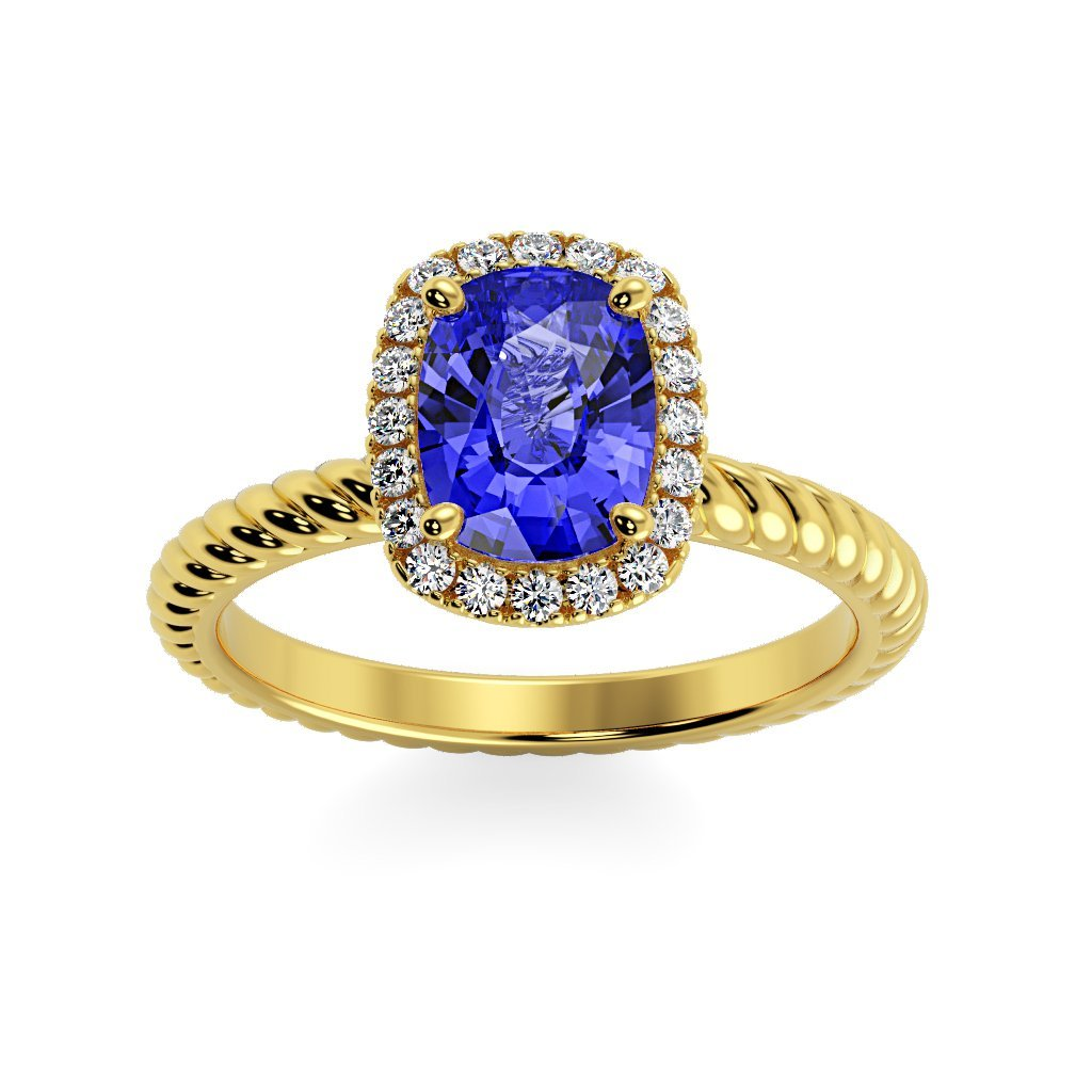 Ring 14K Yellow Gold / 8 x 6  Cushion Gabriella Antique Cushion Chatham Blue Sapphire Halo Diamond Ring Gabriella Antique Cushion  | Blue Sapphire | Halo Diamond Ring  | Storyandhearts.com