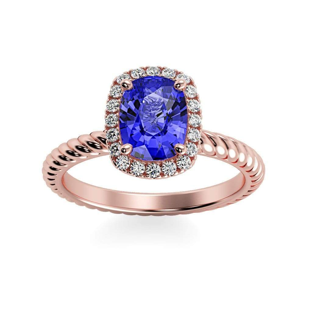 Ring 14K Rose Gold / 8 x 6  Cushion Gabriella Antique Cushion Chatham Blue Sapphire Halo Diamond Ring Gabriella Antique Cushion  | Blue Sapphire | Halo Diamond Ring  | Storyandhearts.com