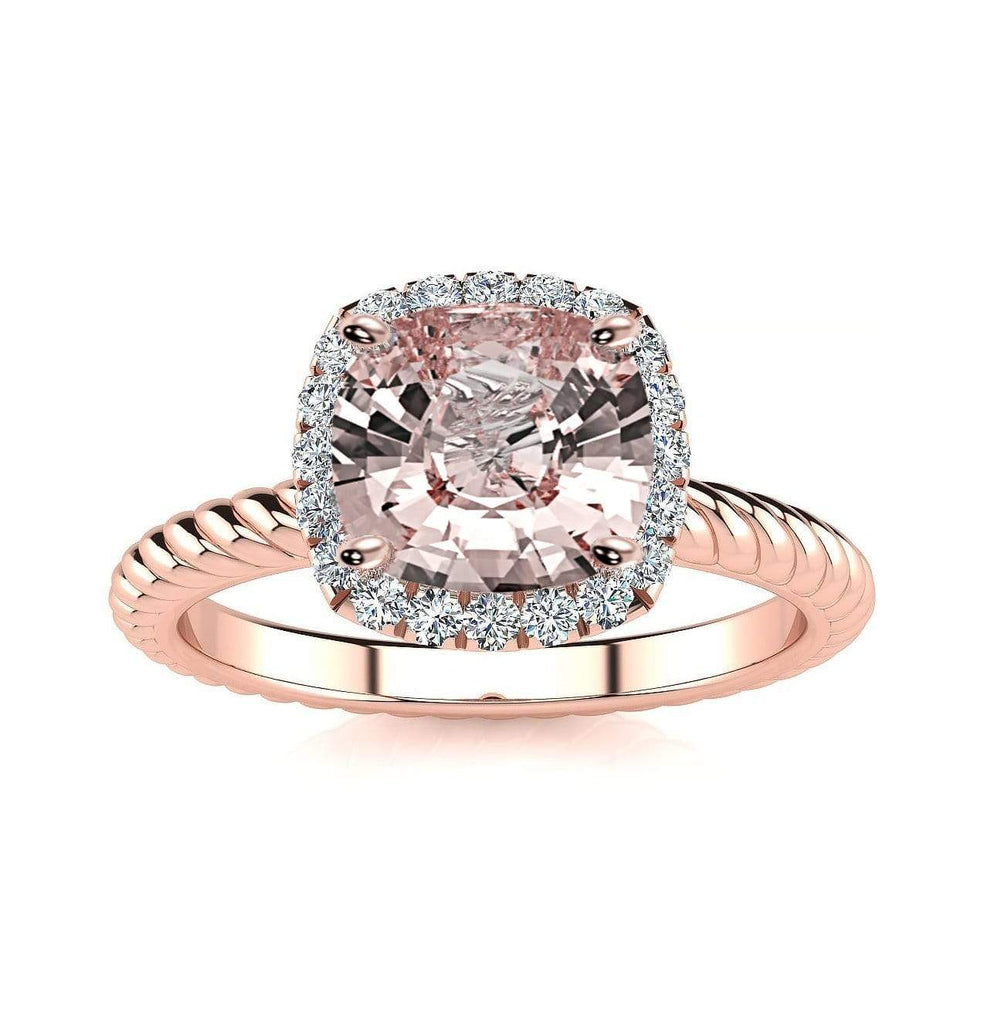 Ring 14K Rose Gold / 6mm Cushion Gabriella Antique Cushion Chatham Champagne Sapphire Halo Diamond Ring Gabriella Antique Cushion   | Champagne Sapphire | Halo Diamond Ring  | Storyandhearts.com
