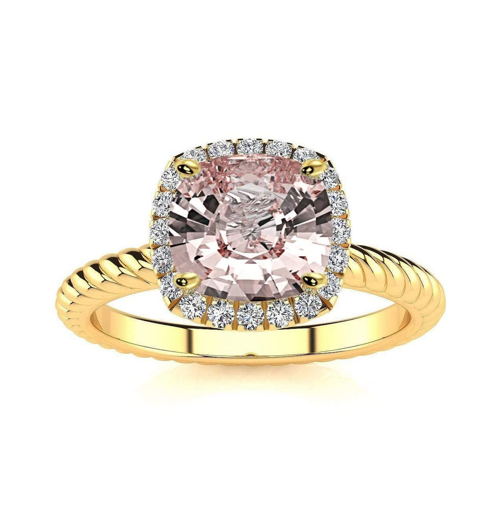 Ring 10K Yellow Gold / 6mm Cushion Gabriella Antique Cushion Chatham Champagne Sapphire Halo Diamond Ring Gabriella Antique Cushion   | Champagne Sapphire | Halo Diamond Ring  | Storyandhearts.com