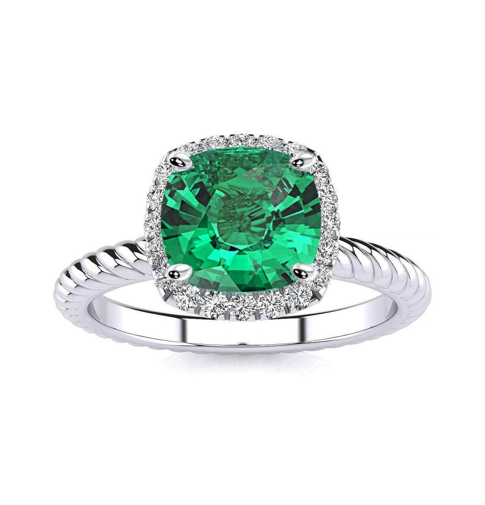 Ring 10K White Gold / 6mm Cushion Gabriella Antique Cushion Chatham Emerald Halo Diamond Ring Gabriella Antique Cushion   | Chatham Emerald | Halo Diamond Ring  | Storyandhearts.com
