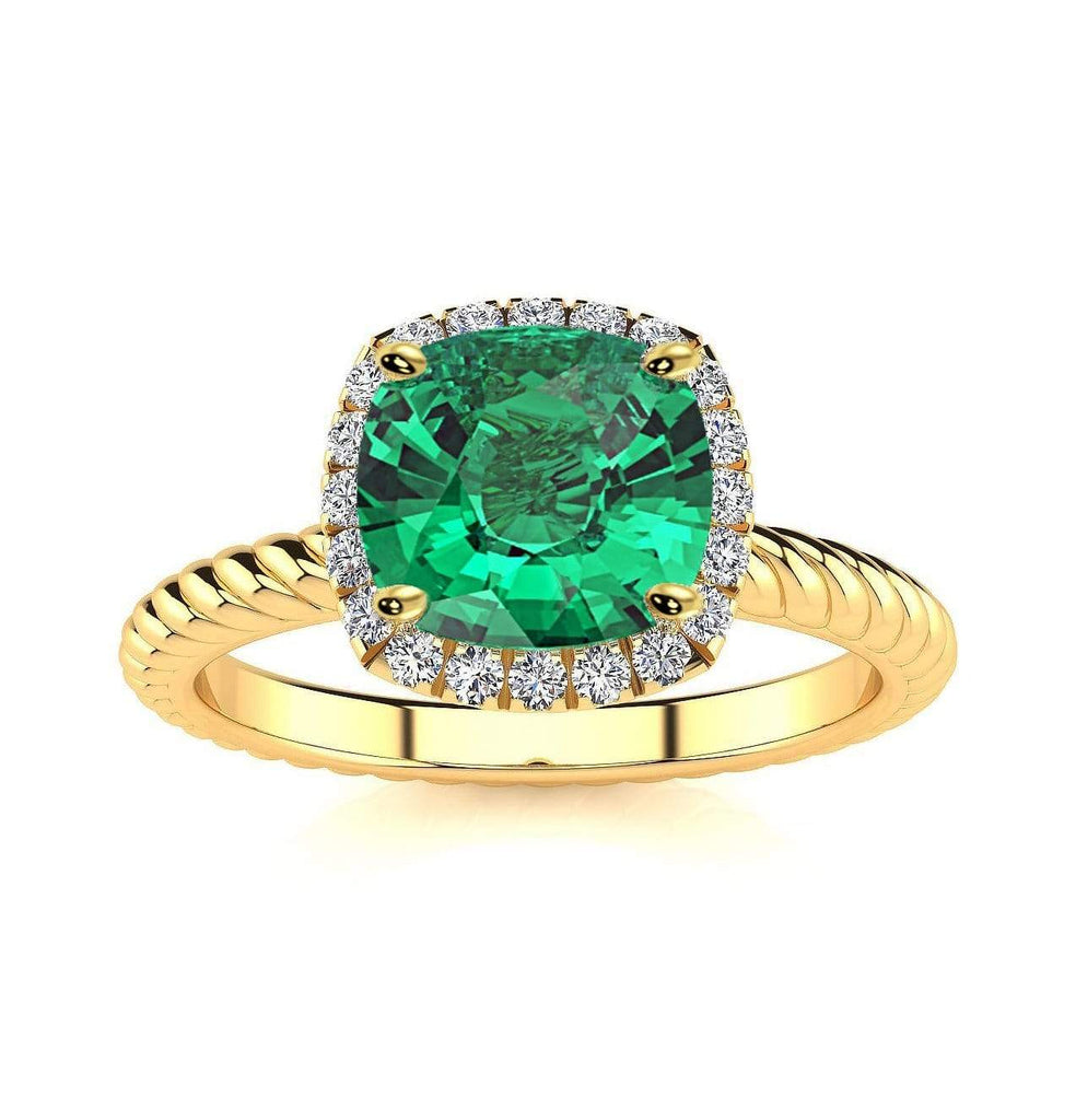 Ring 10K Yellow Gold / 6mm Cushion Gabriella Antique Cushion Chatham Emerald Halo Diamond Ring Gabriella Antique Cushion   | Chatham Emerald | Halo Diamond Ring  | Storyandhearts.com