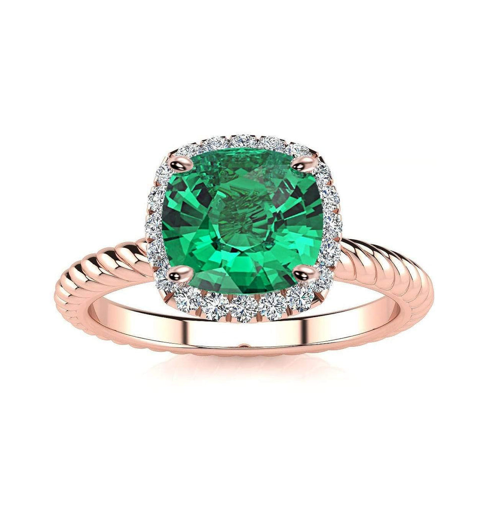 Ring 14K Rose Gold / 6mm Cushion Gabriella Antique Cushion Chatham Emerald Halo Diamond Ring Gabriella Antique Cushion   | Chatham Emerald | Halo Diamond Ring  | Storyandhearts.com