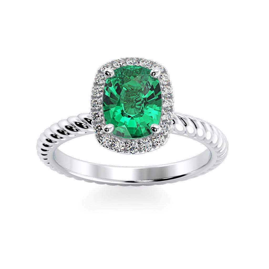 Ring 10K White Gold / 8 x 6  Cushion Gabriella Antique Cushion Chatham Emerald Halo Diamond Ring Gabriella Antique Cushion   | Chatham Emerald | Halo Diamond Ring  | Storyandhearts.com