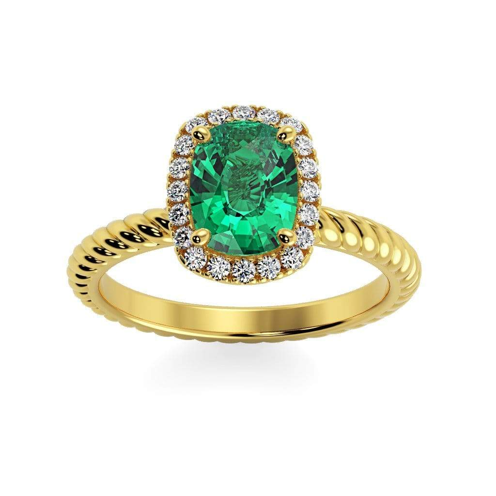 Ring 14K Yellow Gold / 8 x 6  Cushion Gabriella Antique Cushion Chatham Emerald Halo Diamond Ring Gabriella Antique Cushion   | Chatham Emerald | Halo Diamond Ring  | Storyandhearts.com