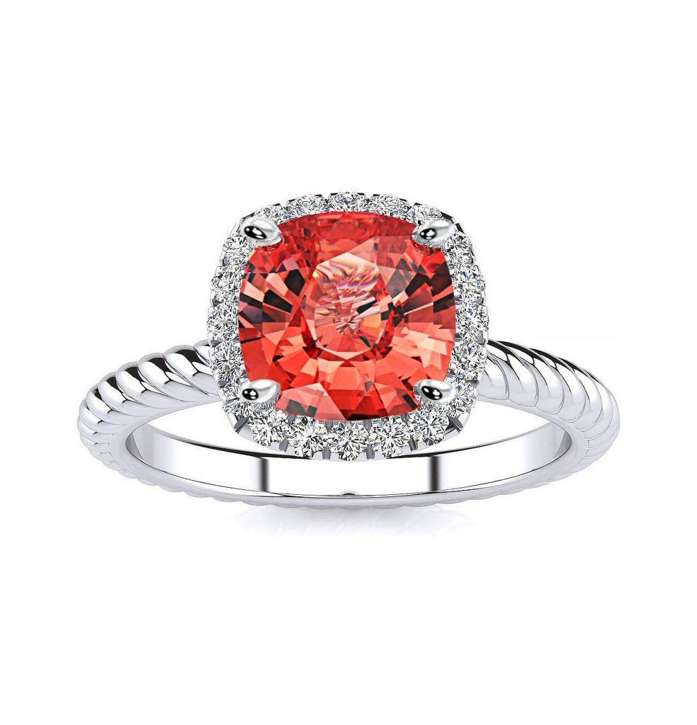 Ring 10K White Gold / 6mm Cushion Gabriella Antique Cushion Chatham Padparadscha Sapphire Halo Diamond Ring Diana  | Chatham Padparadscha Sapphire | Halo Diamond Ring  | Storyandhearts.com