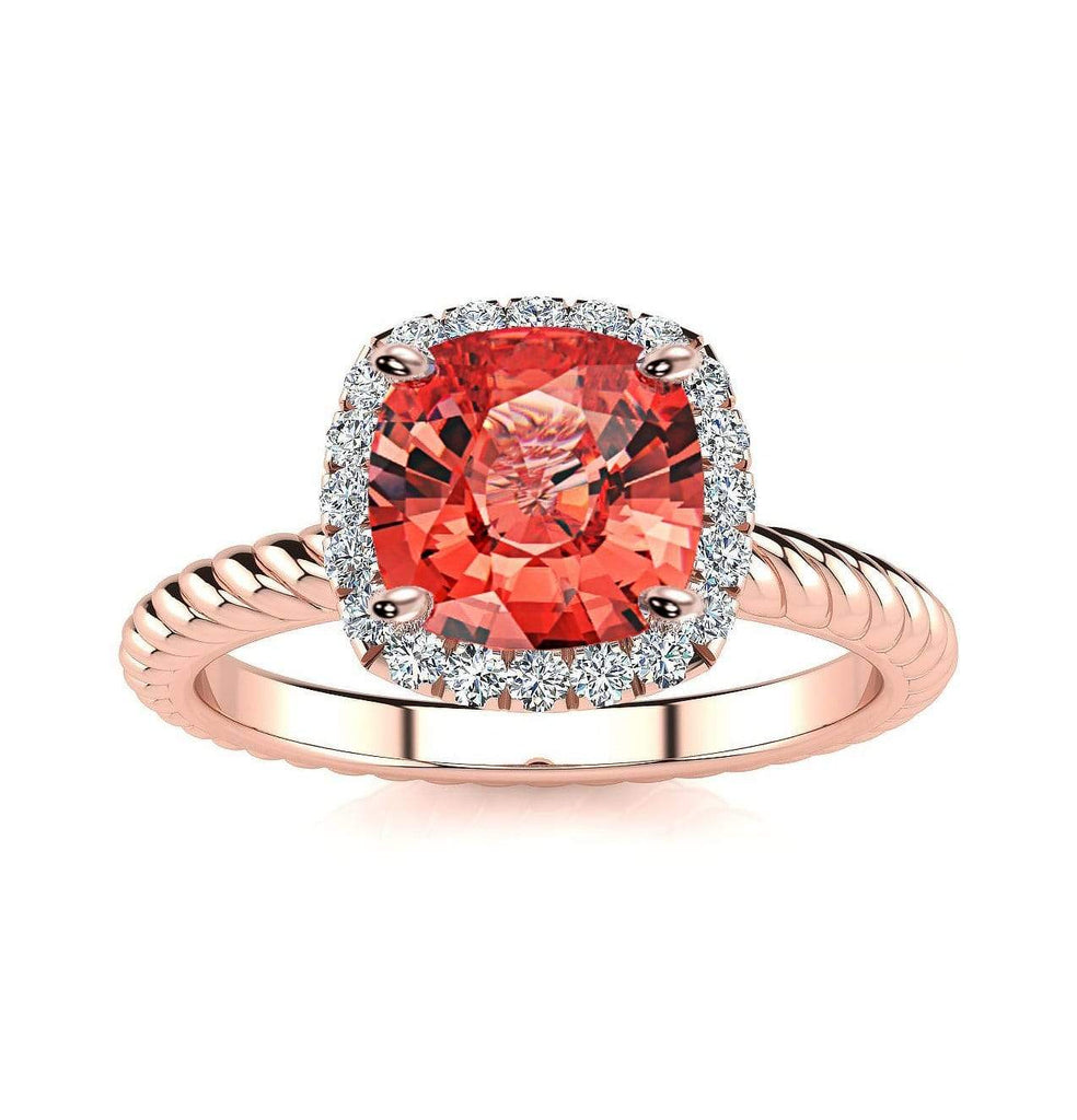 Ring 14K Rose Gold / 6mm Cushion Gabriella Antique Cushion Chatham Padparadscha Sapphire Halo Diamond Ring Diana  | Chatham Padparadscha Sapphire | Halo Diamond Ring  | Storyandhearts.com
